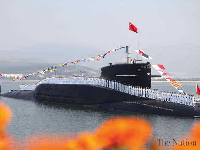 Chinese navymen on nuclear submarine